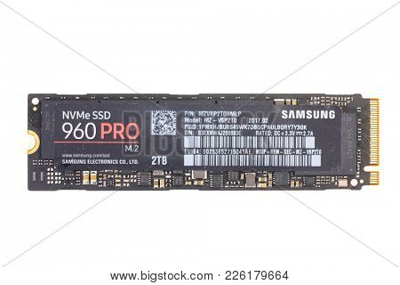 BUDAPEST, HUNGARY - JANUARY 29, 2018: Samsung 960 Pro SSD drive, 2 TB storage, fast NWMe, cutting edge technology for powerful computers, Samsung's flagship drive for m.2 slot
