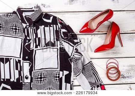 Female Elegant Blouse And Red Heels. Women Stylish Shirt, Leather High-heeled Shoes And Accessories.