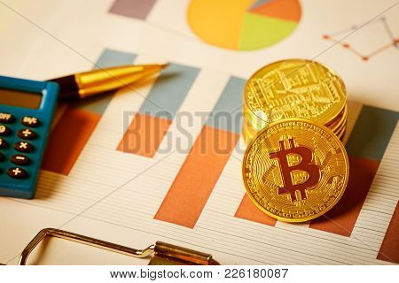 Bitcoin On Business Chart, Vintage Filtered Background.