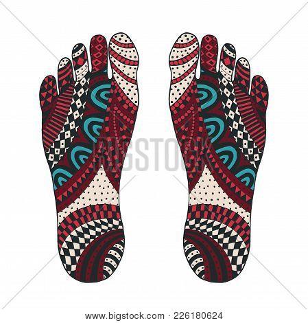 The Imprint Of The Feet. Foot Zen Drawing. Tangle Pattern Footprint Illustration. Handmade Sole.