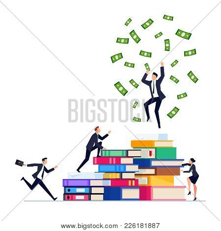 Businessman On Top Of A Pile Of Books. Businessmen In A Flat Style Climb On Piles Of Books. Concept