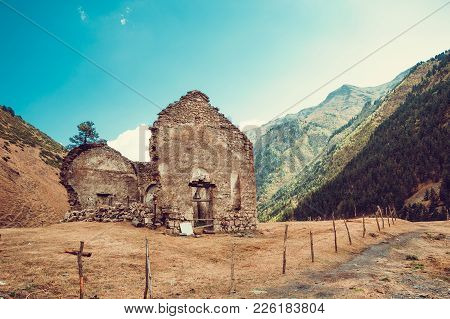 Remains Of Old Ruined Church, Dartlo Village. Adventure Holiday In Tusheti. Travel To Georgia. Mount