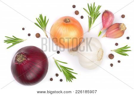 Red Onions, Garlic With Rosemary And Peppercorns Isolated On A White Background. Top View. Flat Lay.