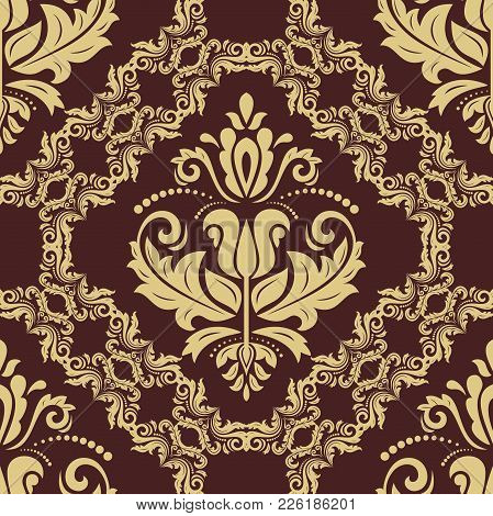 Classic Seamless Vector Pattern. Damask Orient Ornament. Classic Vintage Brown And Golden Background