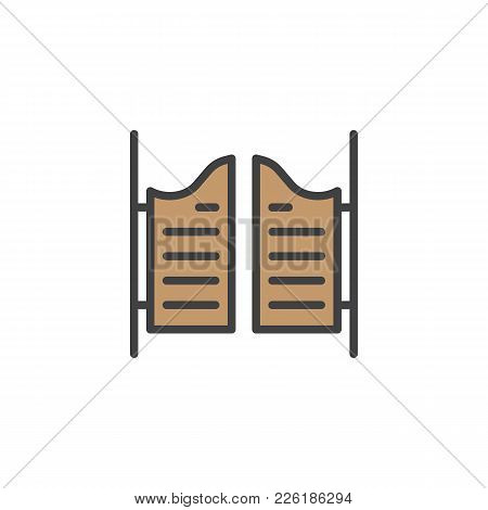 Saloon Door Filled Outline Icon, Line Vector Sign, Linear Colorful Pictogram Isolated On White. Symb