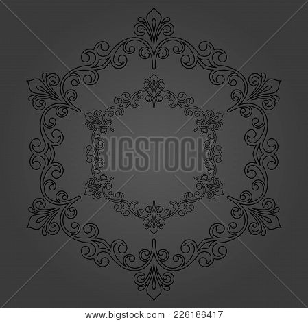 Oriental Vector Pattern With Arabesques And Floral Elements. Traditional Classic Dark Round Ornament