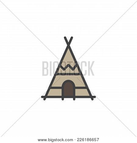 Indian Tepee Filled Outline Icon, Line Vector Sign, Linear Colorful Pictogram Isolated On White. Wig
