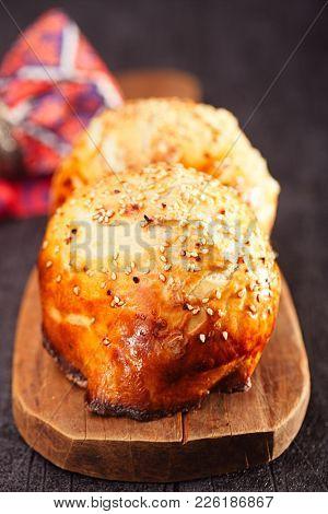 Samosa, samsa - traditional asian meat stuffed pies baked in tandoor