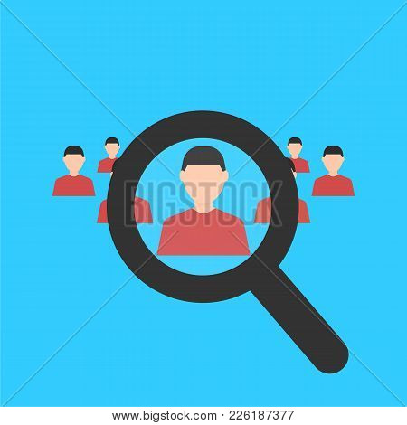 Human Resources. Magnifier Searching A Man. Search For Employe. Recruitment. Business Concept. Flat
