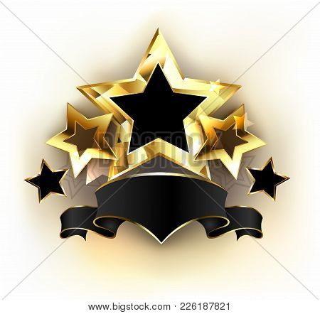 Five Gold Stars With  Black Velvet Ribbon On White Background. Design With Gold Stars. Concept Of Ex