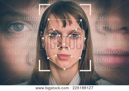 Woman Face Recognition - Biometric Verification Concept - Retro Style