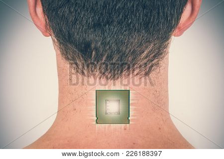 Bionic Chip (processor) Implant In Male Human Body - Future Technology And Cybernetics Concept - Ret