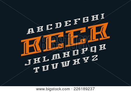 Decorative Italic Serif Font. Letters For Logo And Label Design. Print On Black Background