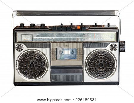 Retro Radio And Audio Cassette Player Isolated On White Background With Clipping Path