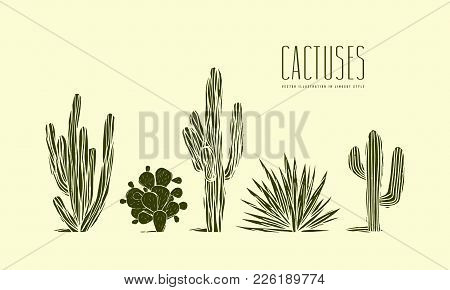 Stock Vector Set Of Hand Drawn Cactus. Illustration In Linocut Style. Different Forms Of Plants. Gre