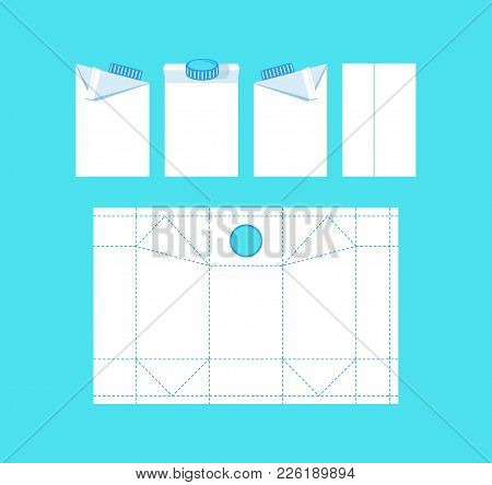 Stock Vector Template Box For Milk. Print On Blue Background