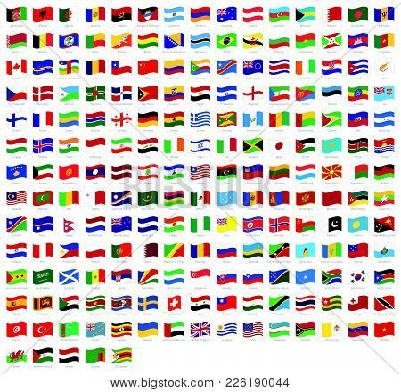All National Waving Flags From All Over The World With Names - High Quality Vector Flag Isolated On