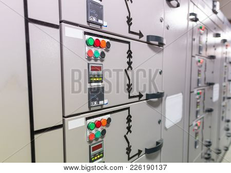 Electrical Switchgear Room Of Industrial Electrical Switch Panel.