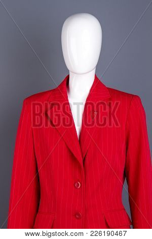 Red Elegant Women Blazer On Mannequin. Brand Clothes For Business Women. Female Classy Apparel.