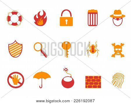 Isolated Orange And Red Color Security Icons Set From White Background