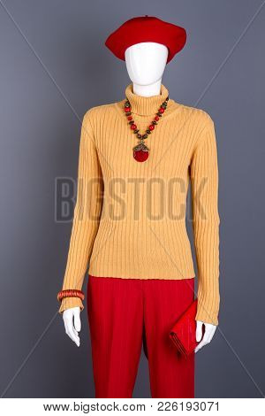 Yellow Sweater And Red Trousers For Women. Female Mannequin With Red Beret, Trousers, Necklace And W