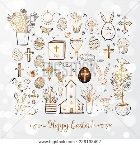 Set Of Easter Doodles On White Glowing Background. Vector Illustration