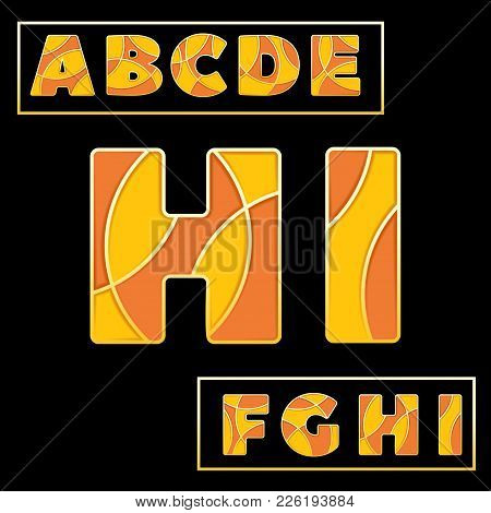 Colorful Stylized Abc Font With Capital Letters From A To I. Part 1 Of 5. Enamel Mosaic Art Isolated