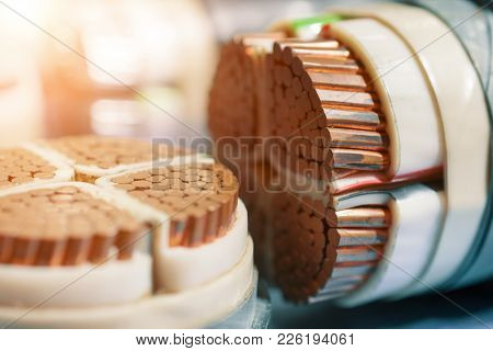Power Electric Copper Cables. Cross-section Showing The Device Of The Cable.