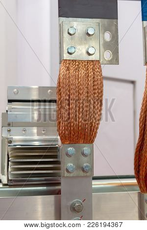 Flexible Copper Braided High-voltage Bus. Electrical Equipment.