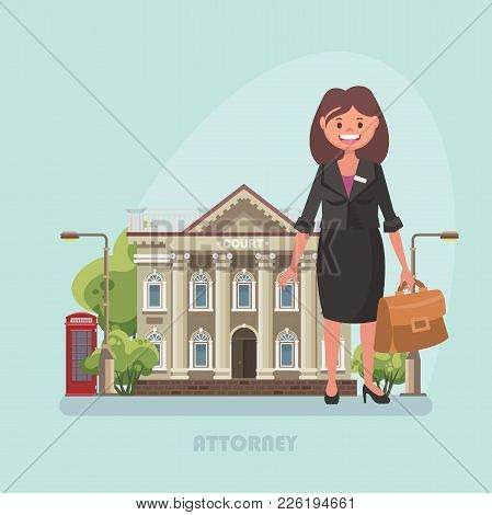 Vector Illustration With Building Of Court And Attorney