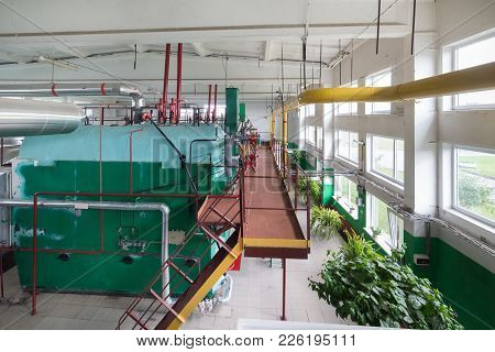 Factory Boiler Room. Gas Boilers For Water Heating And Steam Production.