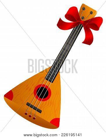 Balalaika Russian Retro National Traditional Musical Instrument. Stringed Musical Instrument. Isolat