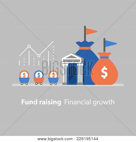 Fund Raising, Financial Growth, Bank Services, Revenue Increase, Productivity Graph, Interest Rate,