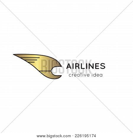 Vector Abstract Thin Line Icon. Logo Template Illustration For Airline Company, Airport Or Travel Ag