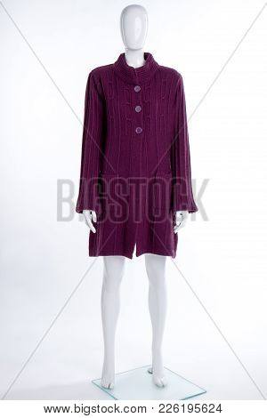 Women Purple Color Cardigan On Mannequin. Female Mannequin Dressed In Warm Buttoned Cardigan, Isolat