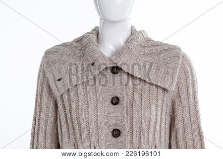Close Up Grey Buttoned Pullover For Women. Close Up Female Mannequin Dressed In Knitted Sweater With