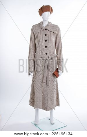 Female Beret, Knitted Cardigan And Wallet. Full Length Female Mannequin With Grey Long Cardigan And
