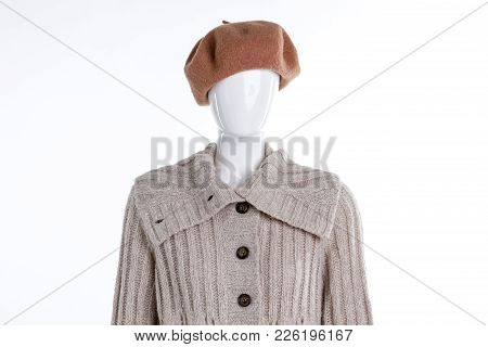 Female Mannequin With Beret And Cardigan. Women Warm Knitted Sweater. Ladies Clothing And Headgear.