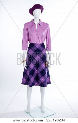 Purple Beret, Blouse And Skirt On Mannequin. Female Mannequin Dressed In Elegant Shirt And Skirt. Fe