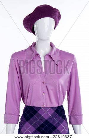 Elegant Silk Blouse For Women. Female Mannequin Wearing Beret, Shirt And Skirt. Women Elegance And S