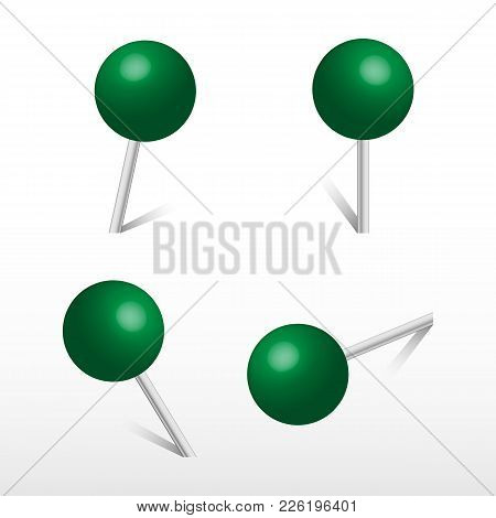 Green Office Round Push Pins. 3d Push Pin. Set Vector Realistic Office Attach Button.