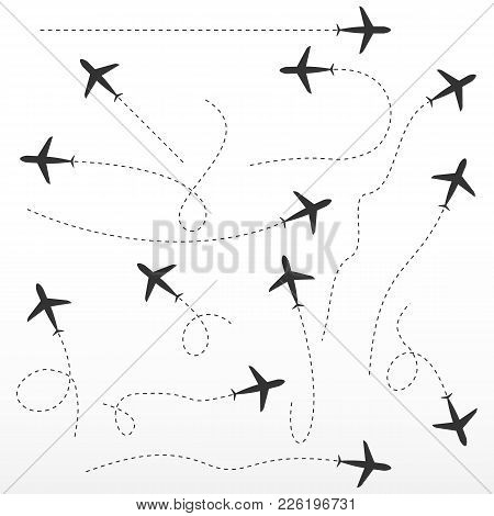 Airplane Route, Directions Signs. Vector Directions On White Background. Isolated.