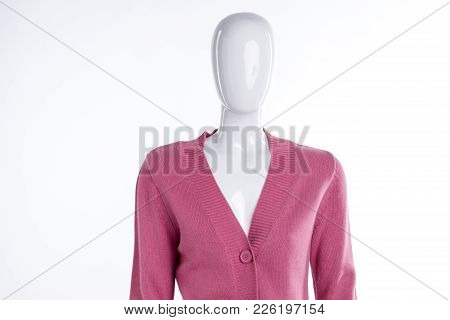Pink Warm Pullover For Women. Female Mannequin Dressed In Casual Women Sweater, White Background. St