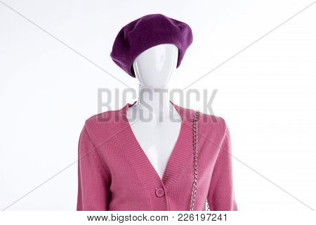 Warm Beret And Sweater For Women. Female Mannequin Dressed In Headgear And Cardigan, Studio Shot. Fe