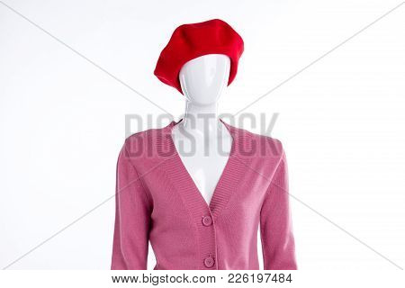 Red Woolen Beret For Women. Pink Soft Cardigan With Buttons. Women Casual Outfit.