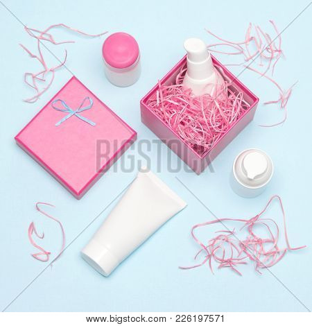 Cosmetics As Present For Woman. Gift Box And Different Skin Care Products. Gift Packaging