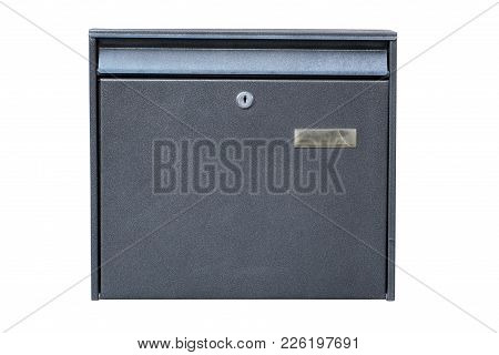 Grey Metal Mailbox Isolated On White Background. Path Saved