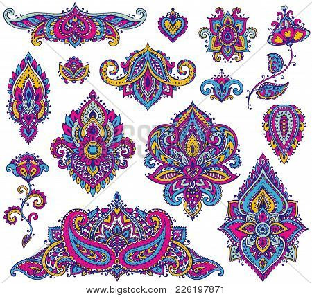 Big Vector Set Of Colorful Henna Floral Elements Based On Traditional Asian Ornaments. Paisley Mehnd