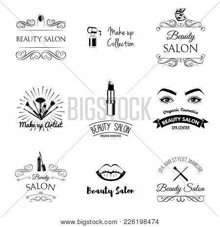 Beauty Salon Design Elements In Vintage Style. Lipstick, Mascara, Lips, Manicure, Women Eyes, Make U