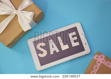 Gift Boxes For Mock Up Template Design. Holiday Sale Concept. View From Above. Flat Lay. Online Shop